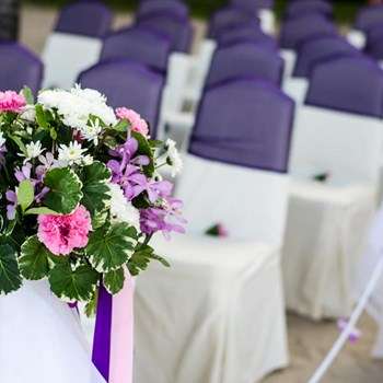 Flowers and chairs ready for a wedding